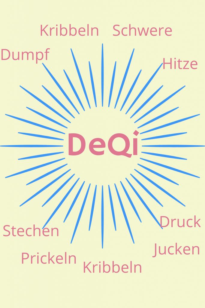 DeQi kann ein Gefühl von Druck, Witze, Stechen, Kribbeln, Jucken, Prickeln, Schwere oder Dumpf sein.